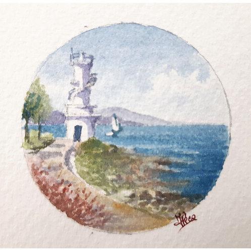 Federica Peco - Faro - Acquerello su carta preparata - Exclusive Galleria Papier