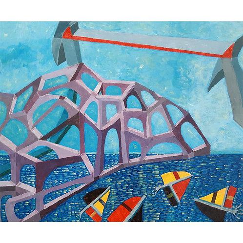 Claudio Compagnone - La costruzione - acrilico su tela - exclusive Galleria d'arte Papier