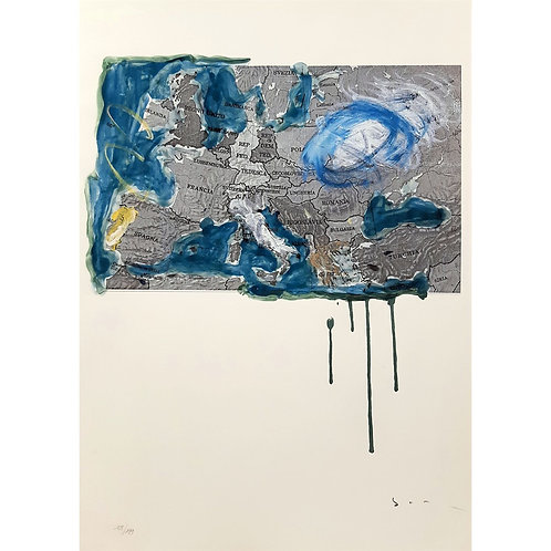 Mario Schifano - Cartina Europea 1996 - Galleria Papier