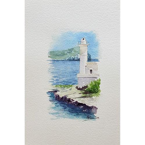 Federica Peco - Faro di Ventotene - Acquerello su carta preparata - Exclusive Galleria Papier