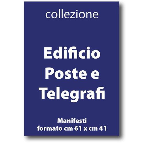 Serie completa dei manifesti dell'Edificio Poste e Telegrafi - Galleria Papier - I Love Sabaudia Razionale