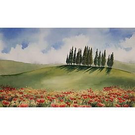 Tra il rosso e il cielo - Acquerello su cartoncino - Tania Pitta