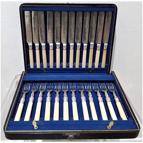 Posate dolce in avorio del 1844 Richard Richardson - Galleria Papier antiquariato