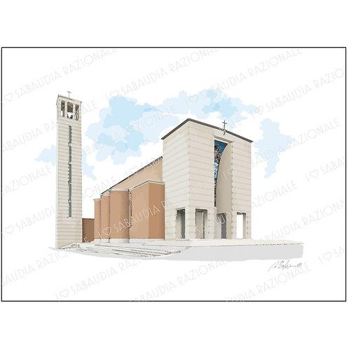 Chiesa Santissima Annunziata - Acquerello Razionale - Sabaudia Razionale for Galleria Papier