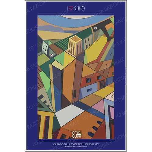 Manifesto dell'opera Volando sulla Torre 1937 (Sibò) - Sabaudia Razionale - Exclusive Galleria Papier