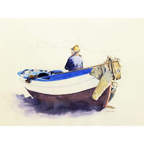 Federica Peco - Il pescatore - Tecnica mista su carta preparata (acquerello e matita) - Exclusive Galleria d'arte Papier
