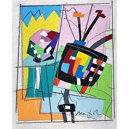 Ugo Nespolo - Il gioco in TV soft painting - Galleria Papier