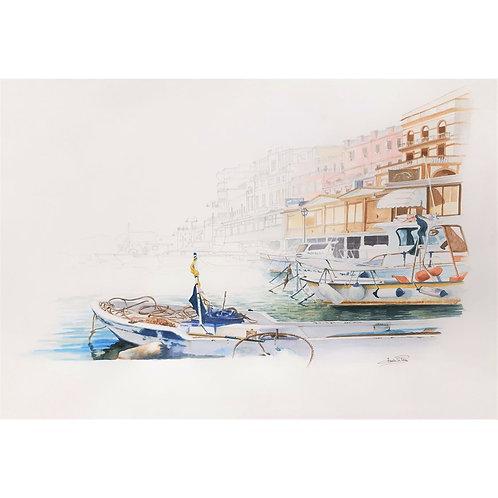 Federica Peco - Il Porto di Anzio - Tecnica mista su carta preparata (acquerello e matita) - Exclusive Galleria d'arte Papier