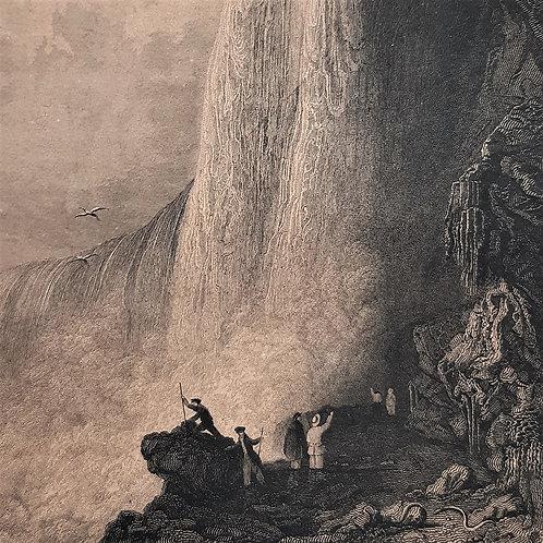 Chateaubriand il viaggio, Chute du Niagara incisione di Louise Pannier 1842 Galleria papier