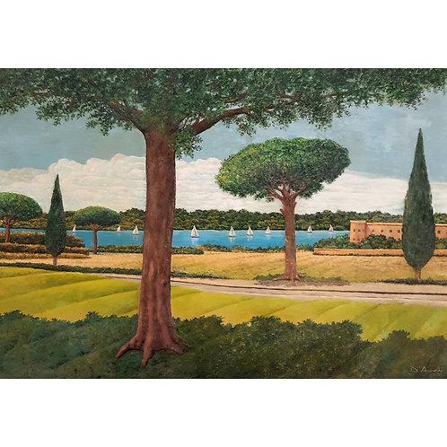 Catello D'Amato - Sabaudia lago e giardini, olio su tavola e papier mache - Exclusive Galleria Papier