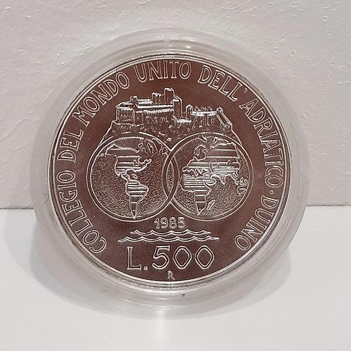 Lire 500 Collegio del mondo unito dell'adriatico 1985 Galleria Papier