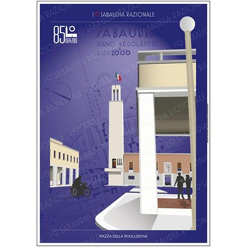 Piazza della Rivoluzione A3 fondino blu con piano regolatore - Sabaudia Razionale - Exclusive Galleria Papier