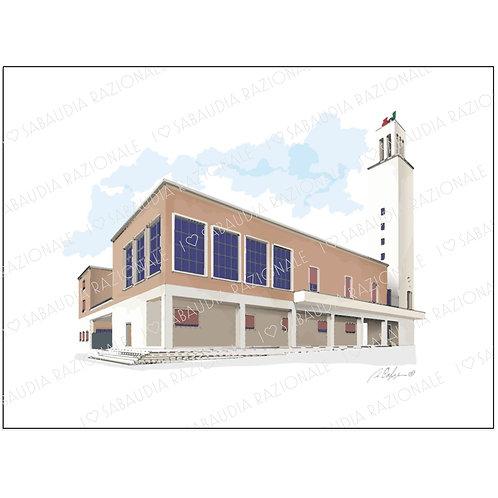 Palazzo del Comune - Acquerello Razionale - Sabaudia Razionale for Galleria Papier