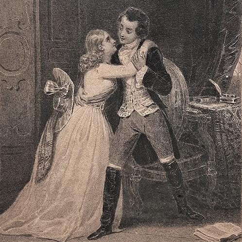 Chateaubriand il viaggio, Réne incisione di Tavernier del 1842 Galleria Papier