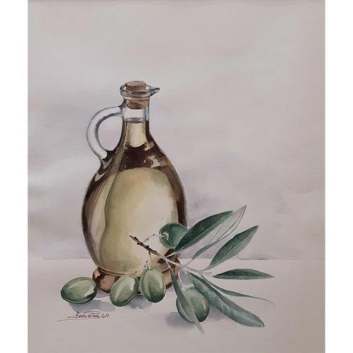 Federica Peco - Olio e Olive - Acquerello - Exclusive Galleria Papier