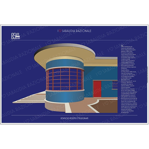 Manifesto dell'Edificio Poste e Telegrafi (vista laterale) di Sabaudia - Galleria Papier - Sabaudia Razionale