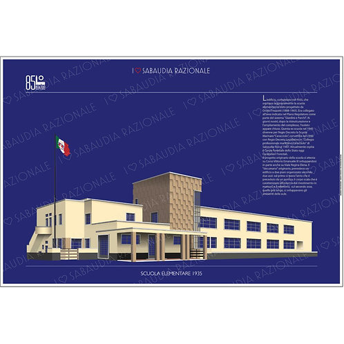 Manifesto della vecchia Scuola Elementare 1935 (attuale scuola forestale) - Sabaudia Razionale - Exclusive Galleria Papier