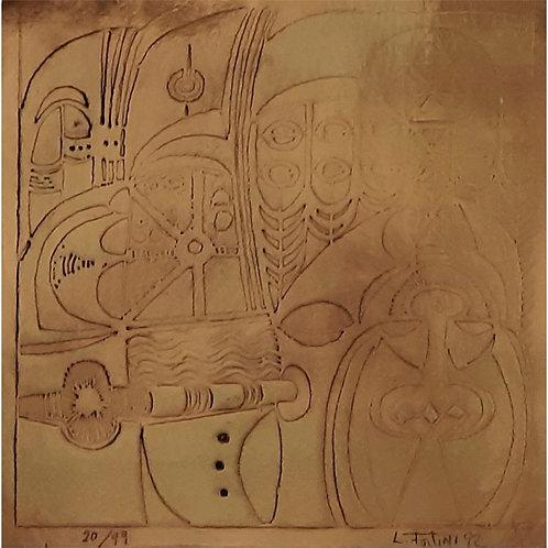 Luciana Fortini - Composizione 1992 incisione su bronzo - Galleria Papier