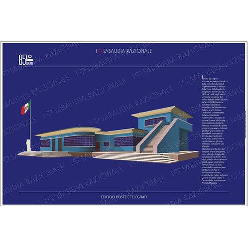 Manifesto Edificio Poste e Telegrafi di Sabaudia - Galleria Papier - Sabaudia Razionale