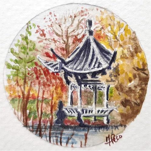 Federica Peco - Pagoda cinese - acquerello su carta preparata - Exclusive Galleria d'arte Papier