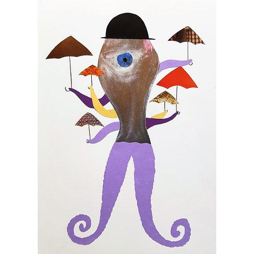 Alfonso Marino - Alvaro il calamaro, filastrocche - Collage -  Exclusive Galleria d'arte Papier
