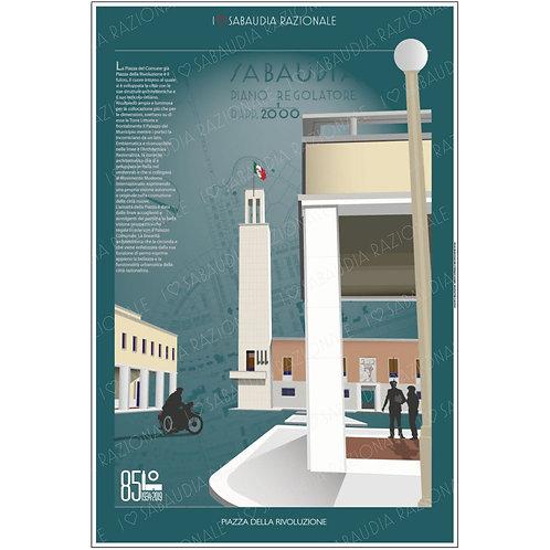 Manifesto della Piazza della Rivoluzione di Sabaudia con piano regolatore - Sabaudia Razionale - Exclusive Galleria Papier
