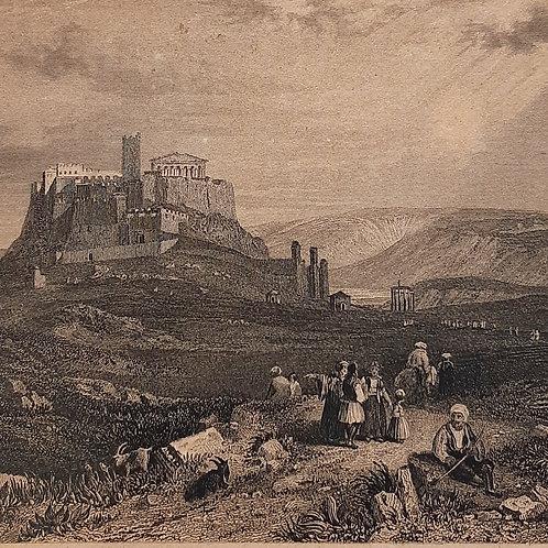 L'Acropolis Chateaubriand il viaggio, acquaforte di Rouargue del 1842 Galleria Papier