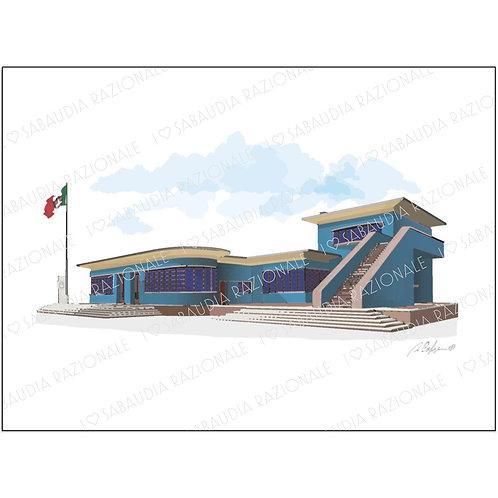 Edificio Poste e Telegrafi - Acquerello razionale - Sabaudia Razionale for Galleria Papier