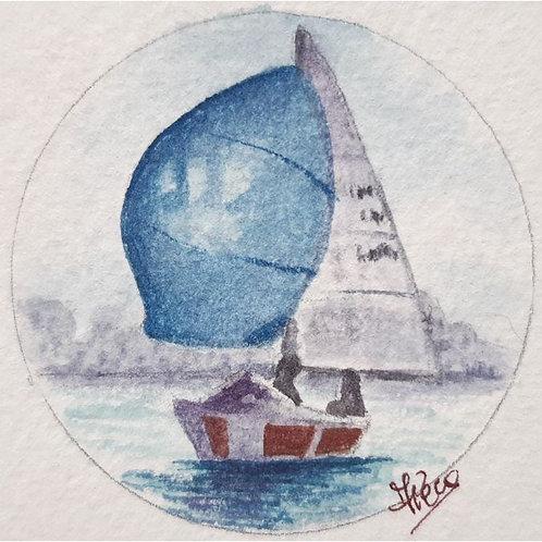 Federica Peco - Barca a Vela - acquerello su carta preparata - Exclusive Galleria d'arte Papier
