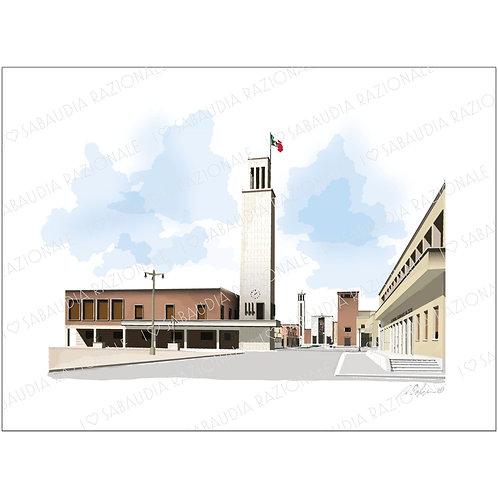 Vista panoramica da Piazza della Rivoluzione - Acquerello Razionale - Sabaudia Razionale for Galleria Papier