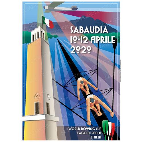 World Rowing Cup Lago di Paola Manifesto A3 e Cartolina postale - Galleria Papier - Sabaudia Razionale