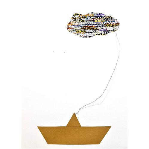 Alfonso Marino -  Barchetta con nuvola, Il viaggio del poeta - Tecnica mista -  Exclusive Galleria d'arte Papier