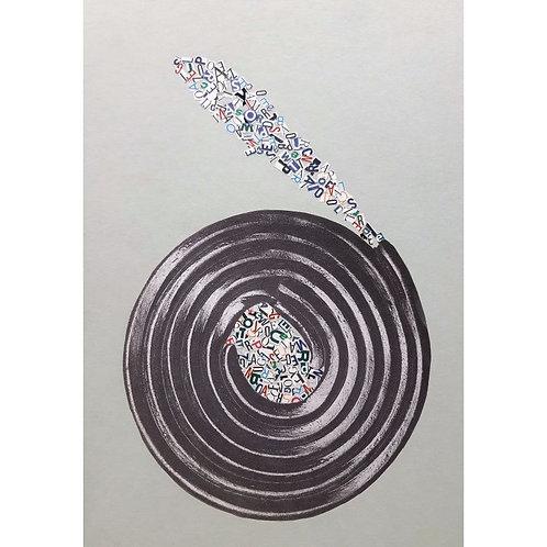Alfonso Marino -  Spirale, Alfabeti - Collage -  Exclusive Galleria d'arte Papier