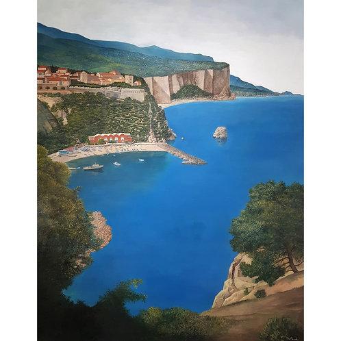 Catello D'Amato - Marina di Vico Equense - Tecnica mista su pannello - Exclusive Galleria d'arte Papier