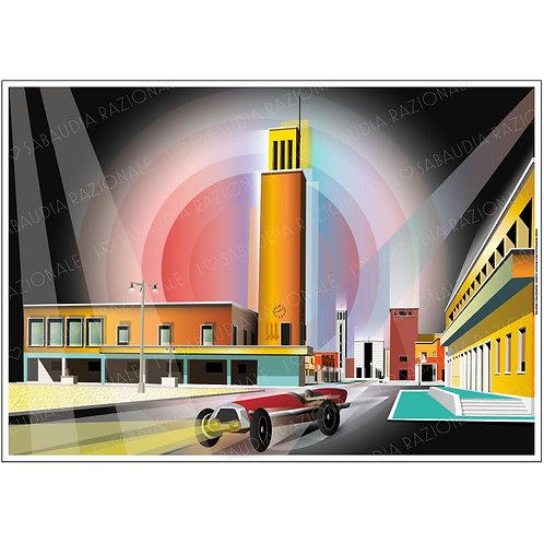 Vista panoramica da Piazza della Rivoluzione - Futurista Manifesto A3 - Galleria Papier - Sabaudia Razionale