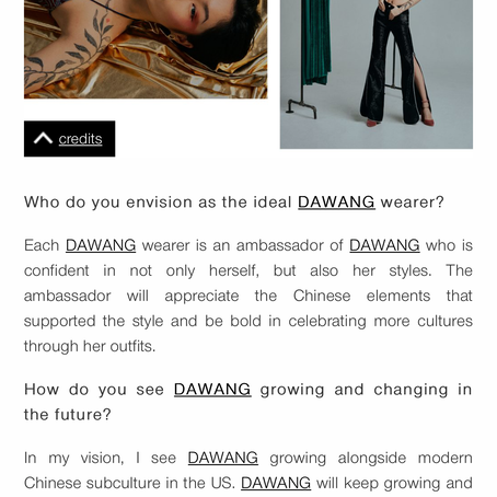 Schon Magazine interview with DAWANG