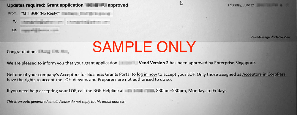 Sample letter of successful PSG grant application from Enterprise Singapore