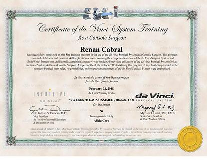 Certificado de treinamento e cirurgia robótica - Intuitive Surgical USA