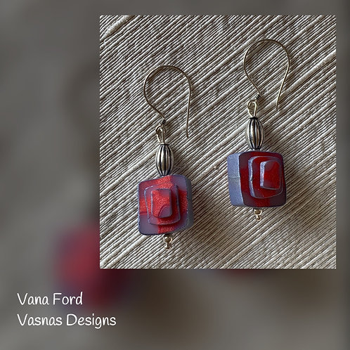Hand formed polymer clay and sterling silver earrings