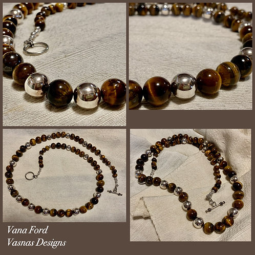 Tigers eye and sterling silver necklace