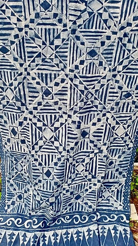 Heavy cotton indigo batik - hand drawn by Nofel