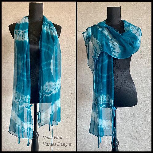 Turquoise Tissue Silk Scarf
