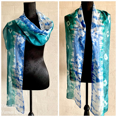 Blue/turquoise pagent silk scarf