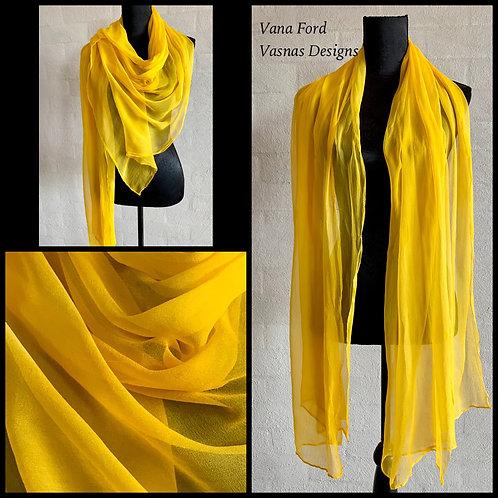 Sunny yellow tissue silk scarf