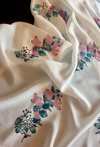 Pink Wattle - hand block printed silk