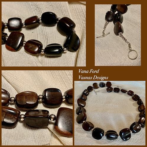 Tiger Ebony (kamagong) - and sterling silver necklace
