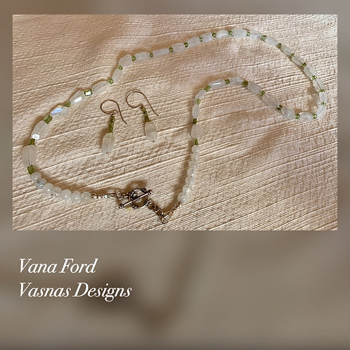 Delicate moonstone, peridot and sterling silver necklace and earring set