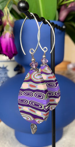 Teardrop earrings with sterling silver and amethyst