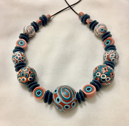 Funky necklace: pumpkin and jade