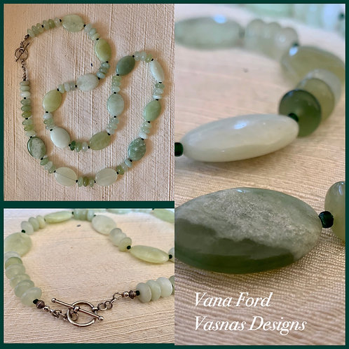 Soft green undyed mountain jade and sterling silver necklace